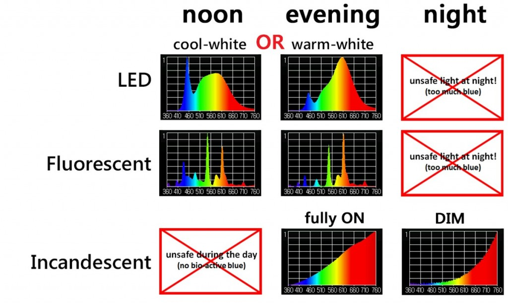 the light spectrum from LEDs, Fluorescents and Incandescents does not change with the time of day