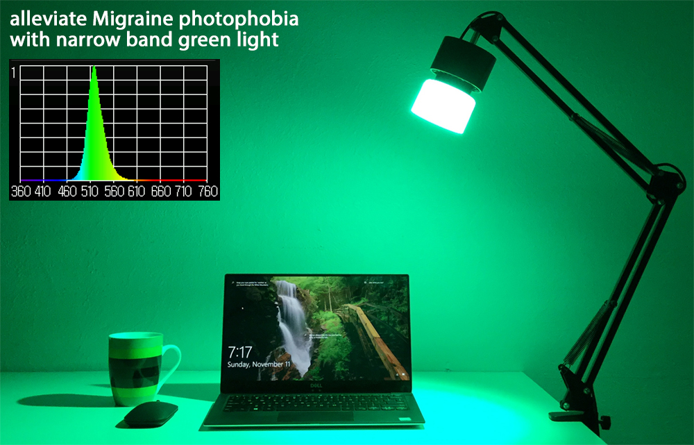 In An Effort To Help Alleviate The Misery Of Migraine Sufferers We Re Offering Two Diffe Prototype Lamps Which Deliver Specific Narrow Band Green